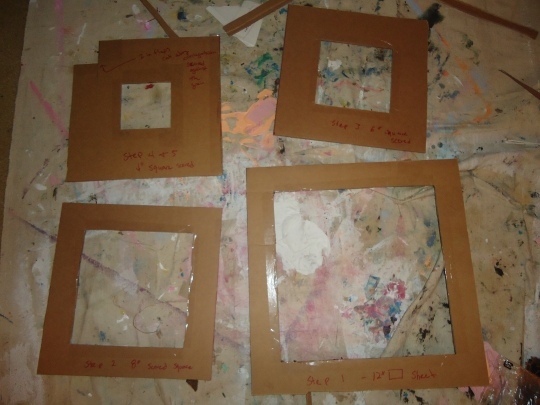 The four templates I am using to make the squares